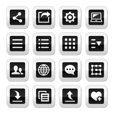 Menu settings tools buttons set Vector