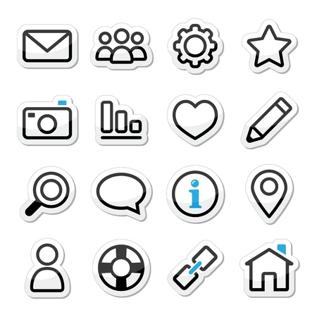 Website menu navigation stroke icons Vector