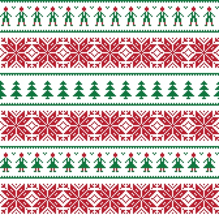Christmas Nordic seamless pattern with men and women Vector