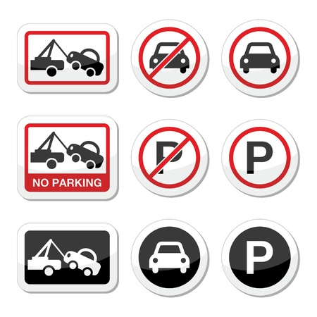 No parking, parking forbidden red and black sign Vector