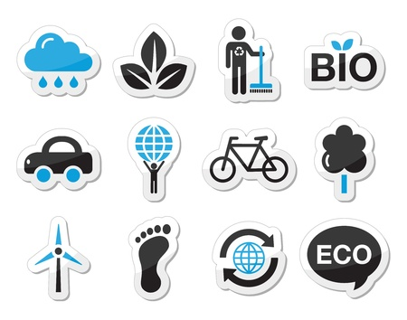 cleaning earth: Ecology, green, recycling vector icons set