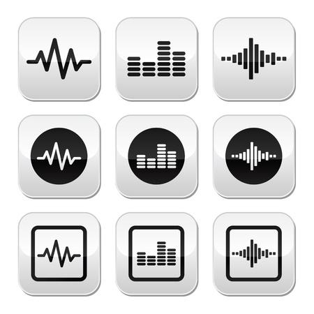 Soundwave music vector buttons set Stock Vector - 21773241