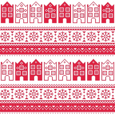 Christmas knitted seamless pattern with town houses, adn snowflakes Vector