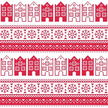 Kerstmis gebreide naadloze patroon met herenhuizen, adn sneeuwvlokken Stock Illustratie