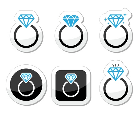anillos de boda: Boda, Diamantes icono anillo de compromiso Vectores