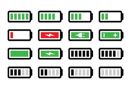 Zestaw ikon wektorowych naładowania baterii
