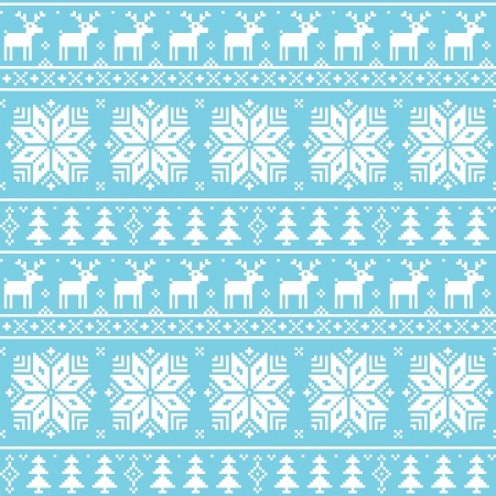 Christmas nordic seamless pattern - deer, snowflakes and trees Vector