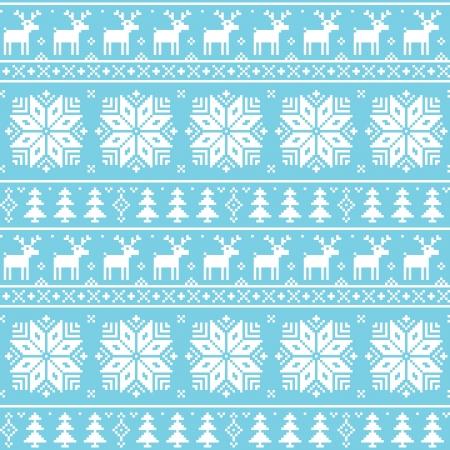 scandynavian: Christmas nordic seamless pattern - deer, snowflakes and trees