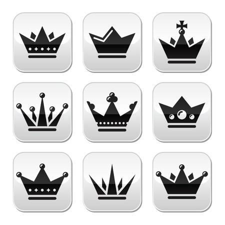 Crown, royal family buttons set Vector
