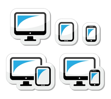 Computer, tablet, smartphone vector icons set Illustration