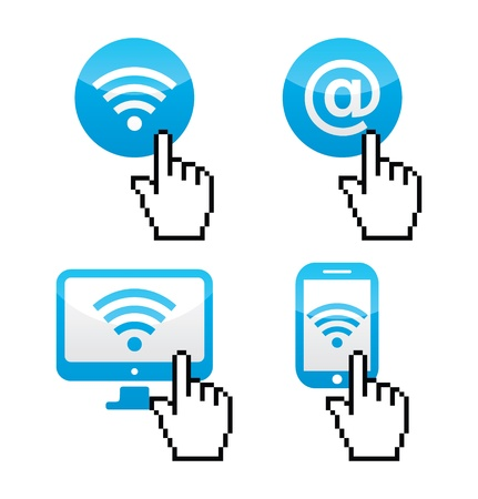 Wifi sumbol  with cursor hand icons Stock Vector - 21773216
