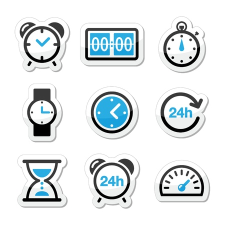 Time, clock vector icons set Vector