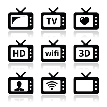 TV set, 3d, HD vector icons Stock Vector - 21773222