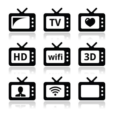 TV set, 3d, HD vector icons Illustration