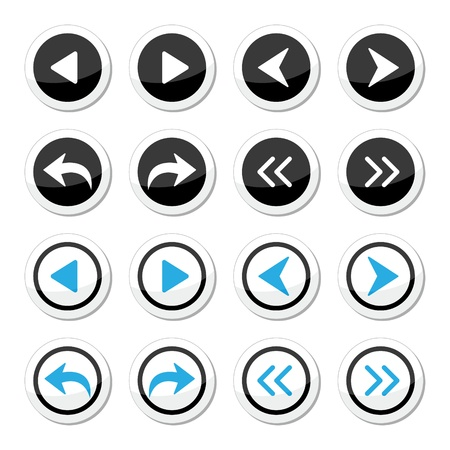 previous: Next, previous arrows round icons set
