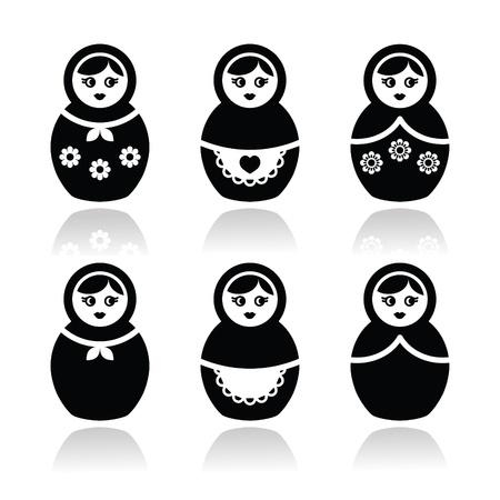 muñecas rusas: Muñeca rusa, iconos vectoriales retro babushka establece
