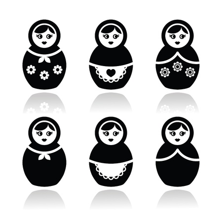 russian culture: Russian doll, retro babushka vector icons set Illustration