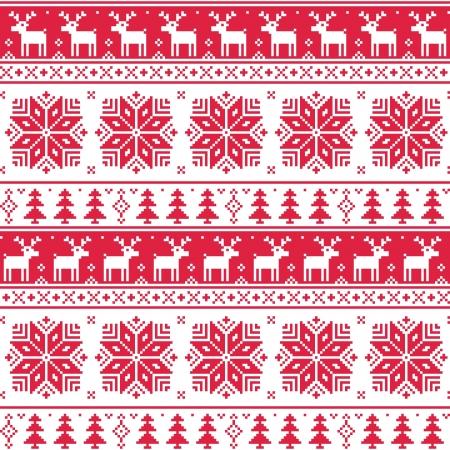 Nordic Navidad patrón de color rojo sin fisuras con ciervos Ilustración de vector