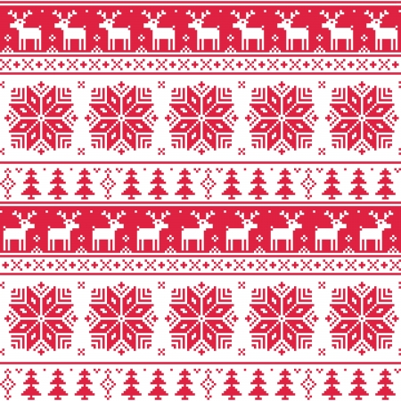 Xmas nordic seamless red pattern with deer Stock Vector - 21773226