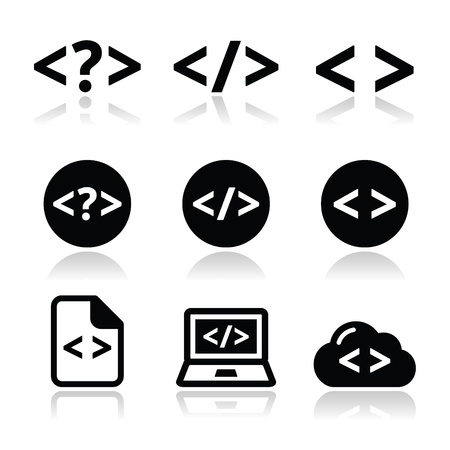Progrmming code vector icons set Vector