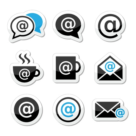 Email, internet cafe, wifi vector icons set Illustration