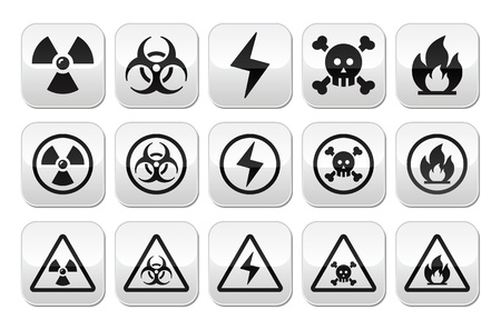 nuclear icon: Danger, risk, warning buttons set