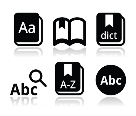 magnyfying glass: Dictionary book vector icons set
