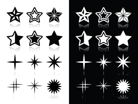 Stars icons with shadow on black and white background