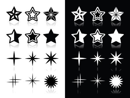 stern: Sterne Icons mit Schatten auf schwarzem und weißem Hintergrund