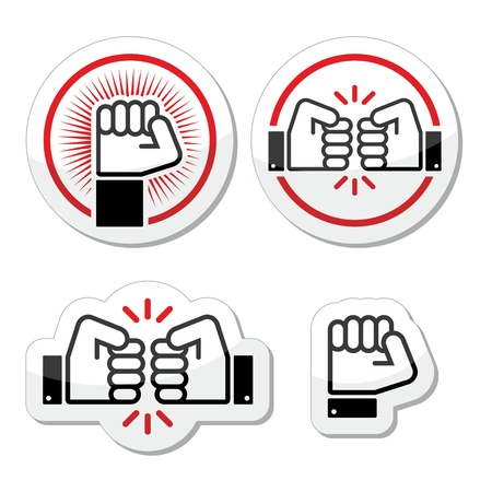 bump: Fist, fist bump vector icons set Illustration