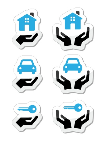 Home, car, keys with hands icons set Stock Vector - 21989674