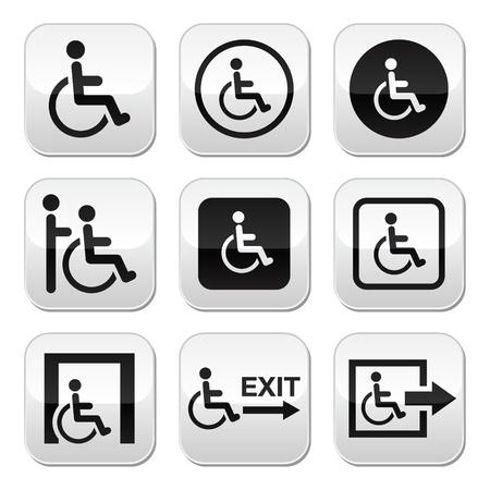 persona en silla de ruedas: Hombre en silla de ruedas, con discapacidad, botones de salida de emergencia establecido