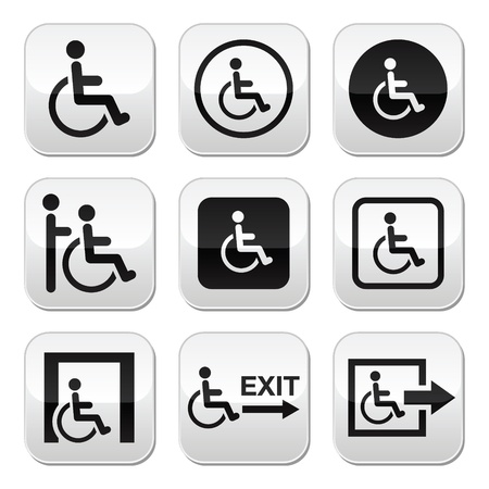 accessibility: Man on wheelchair, disabled, emergency exit buttons set Illustration