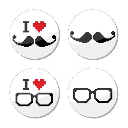I love glasses and mustache   moustache icons set