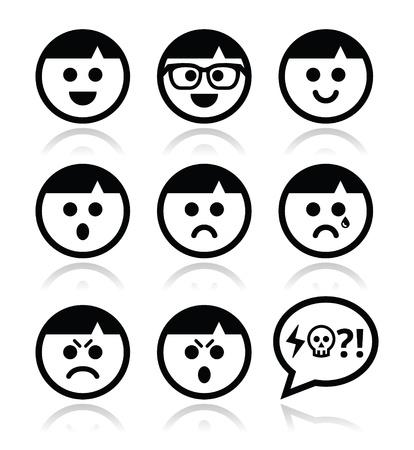 Caras sonrientes, iconos vectoriales avatar establecidos Ilustración de vector