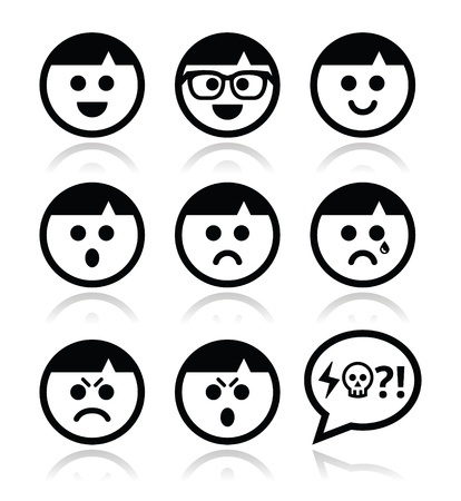 Smiley gezichten, avatar vector pictogrammen instellen