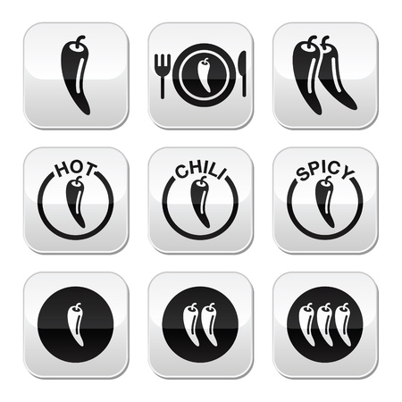 Chili peppers, hot and spicy food buttons set Vector