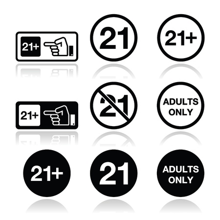 no image: Under 21, adults only warning sign Illustration