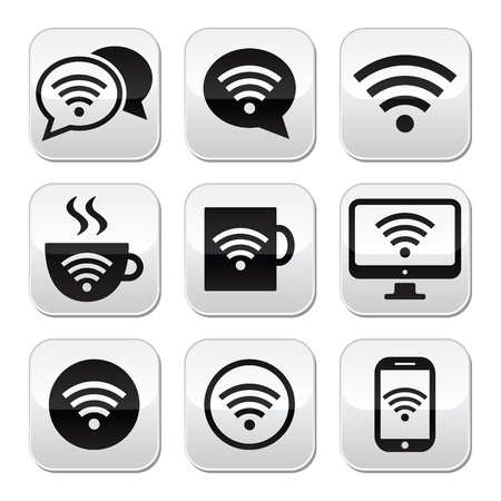 Wifi, internet cafe, wifi vector buttons set Stock Vector - 22013855