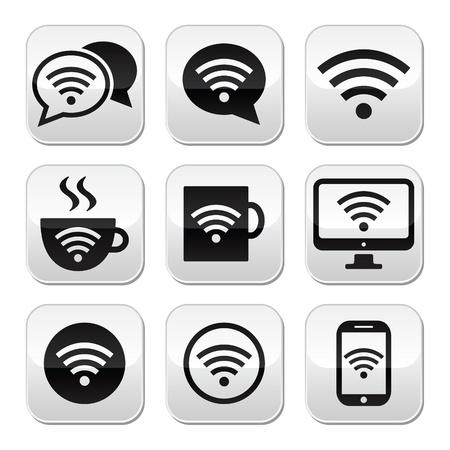 internet cafe: Wifi, internet cafe, wifi vector buttons set Illustration
