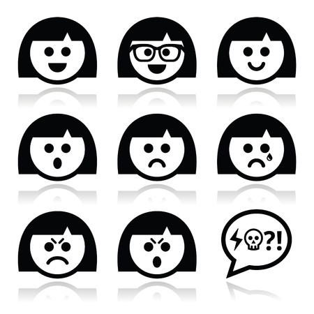grief: Smiley girl or woman faces, avatar vector icons set