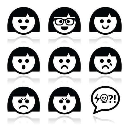 riÃ â  on: Smiley niña o mujer se enfrenta, iconos vectoriales avatar establecen