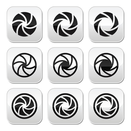 Camera shutter aperture vector buttons set Stock Vector - 22026504