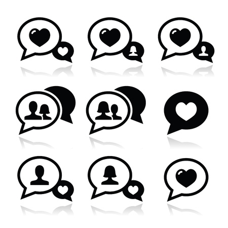 Love speech bubbles, couples icons set Stock Vector - 22318734
