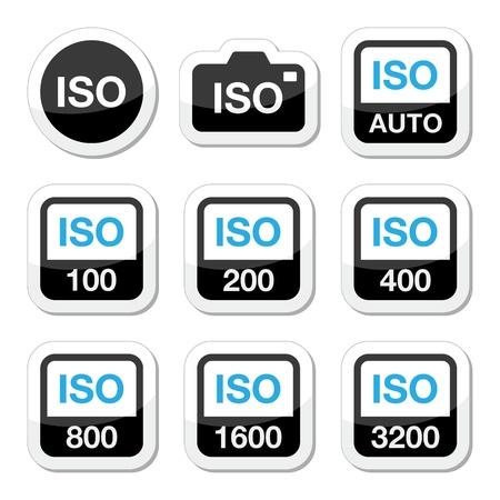ISO - camera film snelheid standaard pictogrammen instellen Stock Illustratie