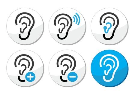 hearing aid: Ear hearing aid deaf problem icons set