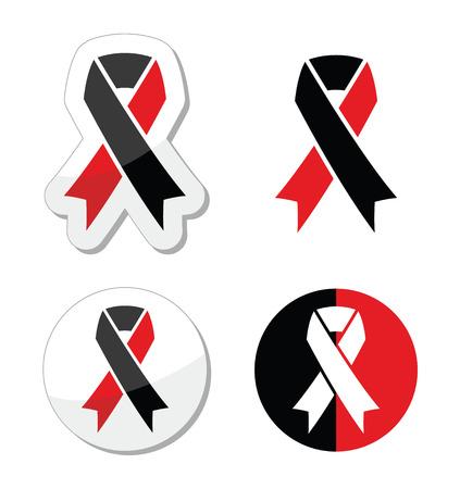 atheism: Red and black ribbons set - atheism symbol Illustration