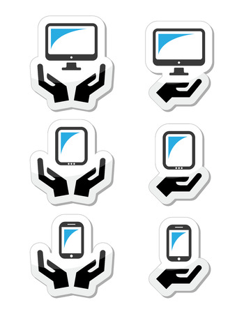 Hands with computer, tablet, mobile or cell phone icons Stock Vector - 22318745