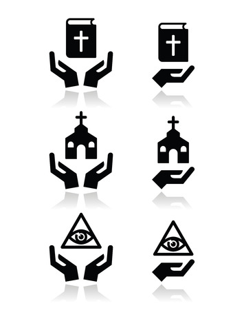 praise hands: Religion icons - hands with bible, church, eye of god