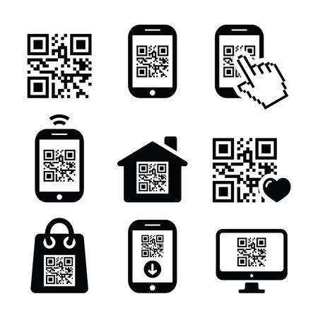 mobile app: QR code on mobile or cell phone icons set
